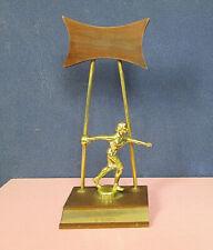 Vintage Mid Century 1960's Teak Wood & Metal Bowling Trophy