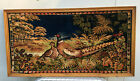 Framed Pheasant Forest Wall Tapestry 40x21 vintage picture rug carpet Italy