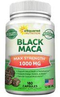 Pure Black Maca Root - 180 Capsules - Max Strength 1000mg Per Serving