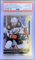 2018 19 Marcus Pettersson SPECKLED RAINBOW PSA 10 GOLD FOIL YOUNG GUNS ROOKIE RC