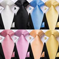 Solid Plain Blue Pink Black Red Green Solid Men's Woven Silk Tie Set Wedding