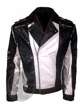 Michael Jackson MJ Pepsi Ad Black and White Motorcycle Vintage Leather Jacket