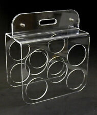 Mid Century Modern Look Lucite Acrylic Stand 5 Bottle Wine Rack Holder Cubist