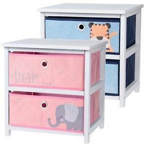 MDF Wooden 2 Drawer Bedside Childrens Kids Girls Boys Cabinet Bedroom Furniture