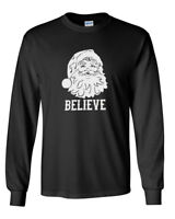 Men's Believe Santa Claus T Shirt Christmas Xmas Holiday T-Shirt Tee Funny Gift