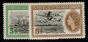 TURKS & CAICOS ISLANDS QEII SG235-236, complete set, M MINT.