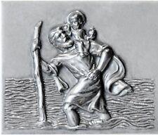 Metall Plakette St. Christophorus Schutzpatron Christopherus Jesuskind Relief 3D