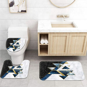 Black and White Marble and Triangles Toilet Cover Rug Mat Contour Rug Set 3pcs