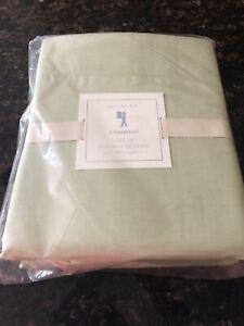 New Pottery Barn Kids Green Chambray Full Sheet Set