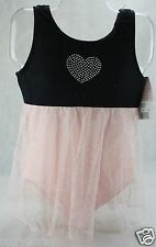 Freestyle Danskin Black & Pink Sleeveless Leotard w/attached Skirt XSmall 4/5