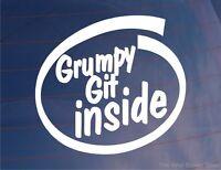 GRUMPY GIT INSIDE Funny Novelty Joke Car/Bumper/Window Vinyl Sticker/Decal