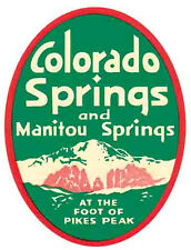 Colorado Springs Manitou Springs CO Vintage -1950's Style   Travel Sticker Decal