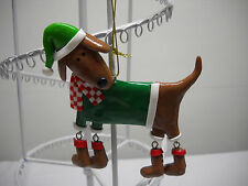 DOG PUP animated*Legs dangle*Hanging ORNAMENT*Scarf*Boots*RED Sweater*FREE SHIP*