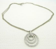 Estate Fresh NOLAN MILLER Silver Tone Rhinestone Circular Pendant Necklace