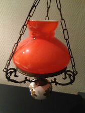 Vintage Suspension Lustre années 60 / 70 verre orange 1960 / 1970