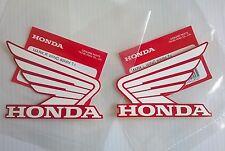 HONDA ALA Tanque de combustible Pegatina Alas 2x 80mm Blanco & Rojo 100%