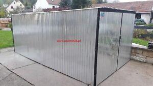 Blechgarage Pultdach Fertiggarage Blechhalle 3x5x2,14 4Kantprofil+Aufbau