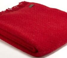 TWEEDMILL Wafer Throw In RED Pure New Wool Blanket  🇬🇧 Made In UK