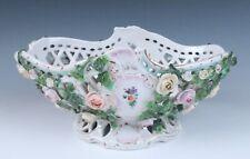 Antique German Dresden HP Reticulated Bowl ENCRUSTED ROSES Porcelain Flowers