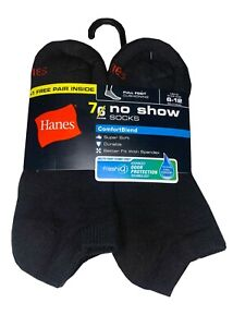 "Hanes® Men's 7-Pair BLACK NO SHOW SOCKS  SHOE SIZE 6-12  """"COTTON""       NEW!!!"