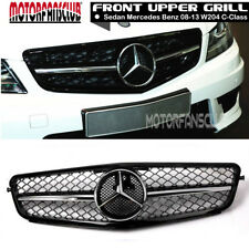 For Mercedes C63 AMG Style Chrome Black Grill C-Class Benz W204 C300 C350 08-14