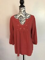 St Johns Bay Women's Blouse Size XL Orange Pullover Top With 3/4 Sleeves