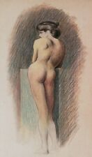 Dessin aquarelle tableau femme nue modèle nu féminin 1900 école italienne étude