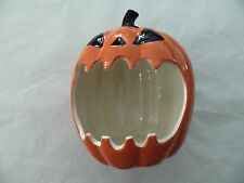 Halloween Jack O Lantern Orange Black Pumpkin Ceramic Open Mouth Candy Bowl Dish