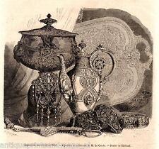 Antique print bijouterie art bijouteries 1855 holzstich Orfèvrerie gravure
