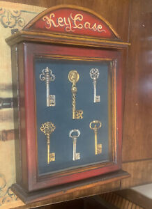 Vintage Wood Key Case Hand Painted