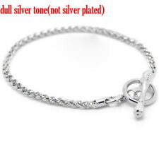 SILVER TONE TOGGLE CLASP EUROPEAN CHARM BRACELET~Easy Fit European Beads ()UK