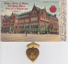 1907 Old Home Week of Boston Mass MA Art Museum Postcard & brass bean pot charm