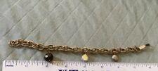 Vintage Double Link Gold-tone Charm Bracelet With Quartz, Coin Pearl Charms