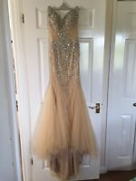 Designer Mesh Illusion Embellished party Evening dress UK6 XS Prom £490