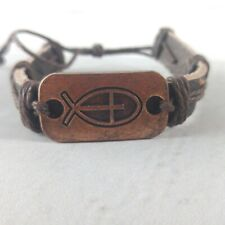 NEW Unisex Leather Adjustable Cuff Bracelet With Copper Ichthys/Cross Charm