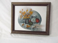Fall-Pumpkins Leaves Oil on Canvas Signed Matthew-Wood Framed-12 X 10