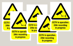 5 Screen Printed Warning CCTV camera WINDOW stickers signs decals 50mm x 70mm