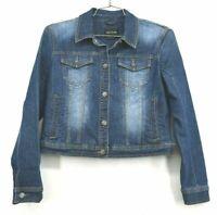 DKNY Jeans Women's Medium Dark Blue Wash Button Up Denim Casual Jean Jacket