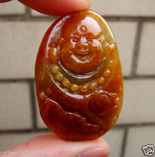 Certified Untreated Red Green Jadeite Jade Carved Buddha Ruyi Pendant【Grade A】