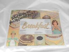 Old Vtg 1980s McDONALDS Restaurant  BREAKFAST Advertising PLACEMAT
