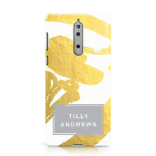 DYEFOR PERSONALISED GOLD LEAF WHITE WITH NAME PHONE CASE COVER FOR NOKIA