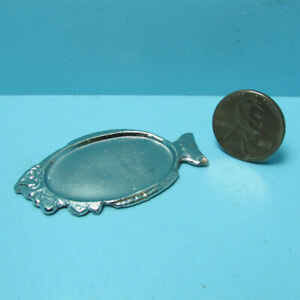 Dollhouse Miniature Metal Silver Large Fish Serving Tray Platter SS3038