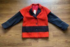 Vintage Hudsons Bay Wool Coat Jacket Red Black Womens Made in Canada