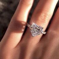 Frauen Shiny Heart Zirkon Engagement 925 Silber Überzogene Hochzeit Ring Schmuck