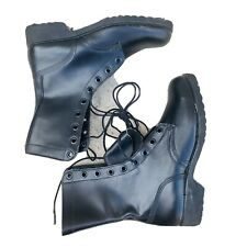 Military Mens Black Leather  Combat Boots Size 8 Lace Up Never Worn Army 80s