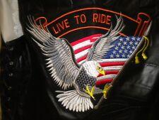"""Men's Black Leather Vest SZ L Live to Ride Eagle & Flag Chest 44"""" DIAMOND PLATE"""