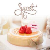 Sweet 16 Cake Topper 16th Birthday Anniversary Crystal Rhinestones Party Decor