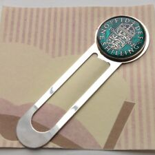 1962 Enamelled One Shilling Coin Bookmark. Turquoisegreen/Silver. 56th Birthday