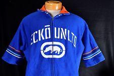 Ecko Unltd. Blue Knit Zip Short Sleeve Sweatshirt - Size Large