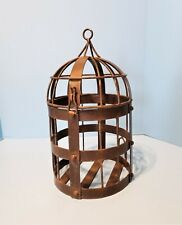 Rustic Round Metal Hanging Decorative Bird Cage w Dome Top